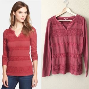 Lucky brand thermal lace stripe